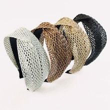 WYYNIY Bohemian straw mat cross headband fashion tangled hairpin braided net girls hair accessories
