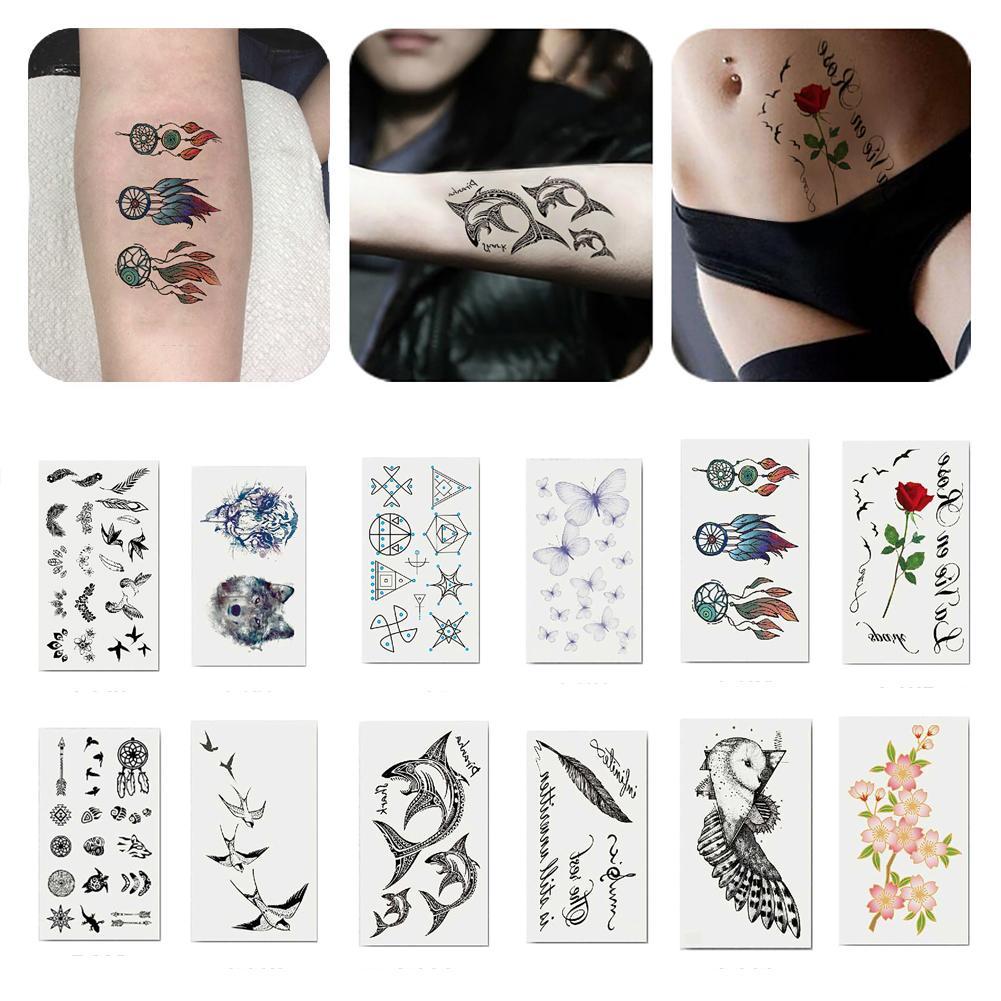 Cool Unisex de larga duración brazo tatuaje temporal tatuaje de transferencia impermeable Etiqueta de larga duración tatuajes temporales trajes para la playa,