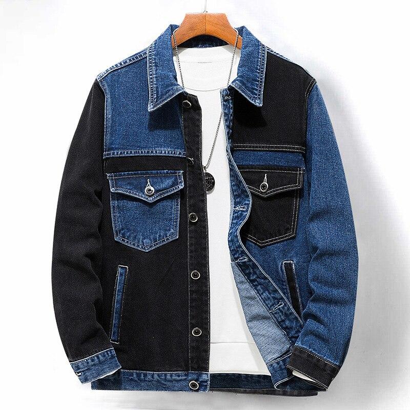 الربيع والخريف الدنيم سترة الرجال ، خياطة الأسود والأزرق رجل كاوبوي معطف ، الذكور الملابس الجينز الموضة ، حجم M-5XL