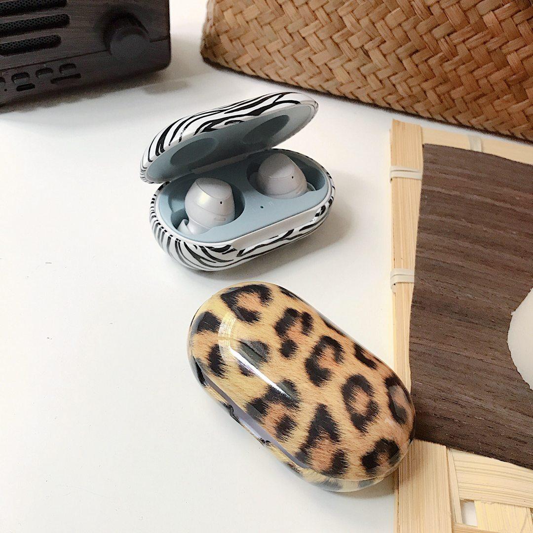 Funda de auriculares Retro con estampado de leopardo para Samsung Galaxy Buds + Buds Plus patrón de cebra para bufandas auriculares funda de plástico duro