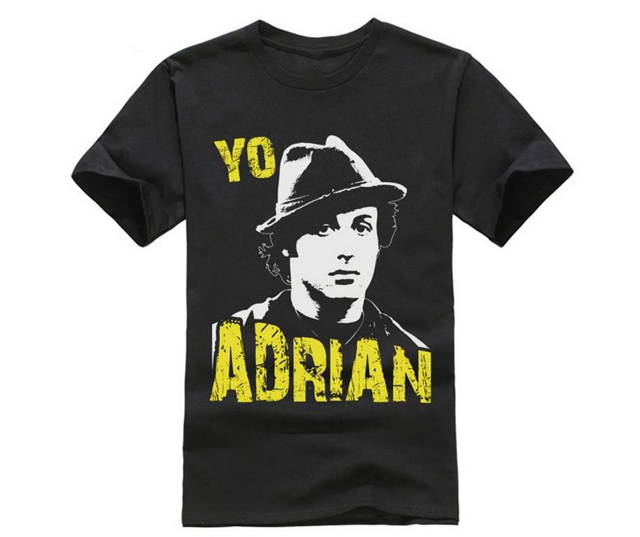 100% algodão O Pescoço Impresso T-shirt De Grandes Dimensões Rochosa T Camisa Yo Adrian