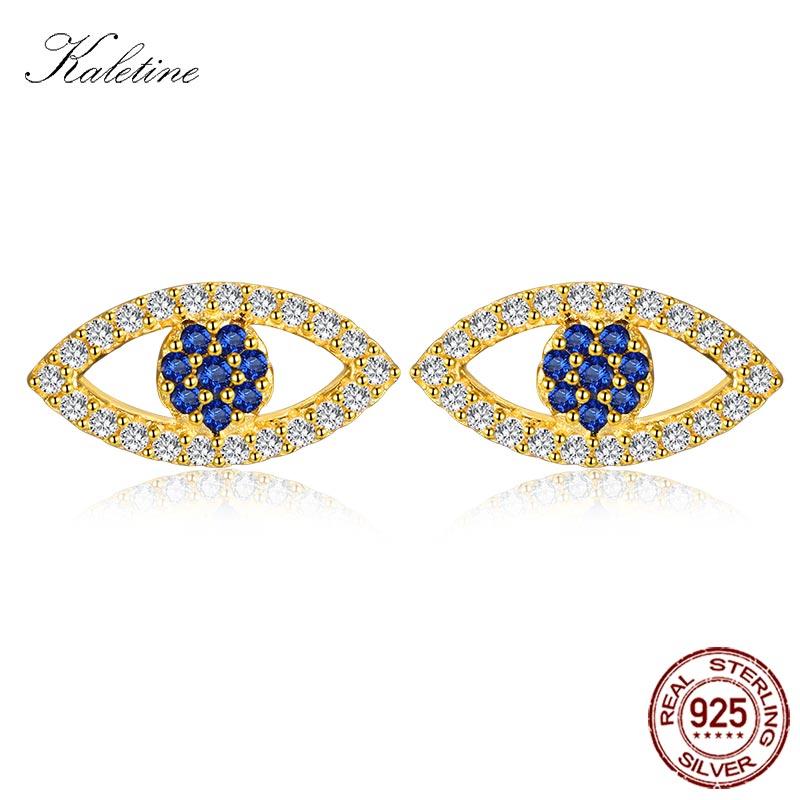 Kaletine lucky evil eye brincos para mulheres mini olho de zircão azul 925 brincos de prata esterlina para mulheres jóias turcas