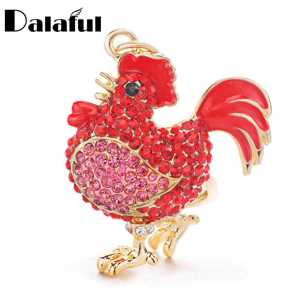 Dalaful galo de luxo frango chaveiros cristal trinket chaveiro chaveiro titular metal animal chaveiros k302