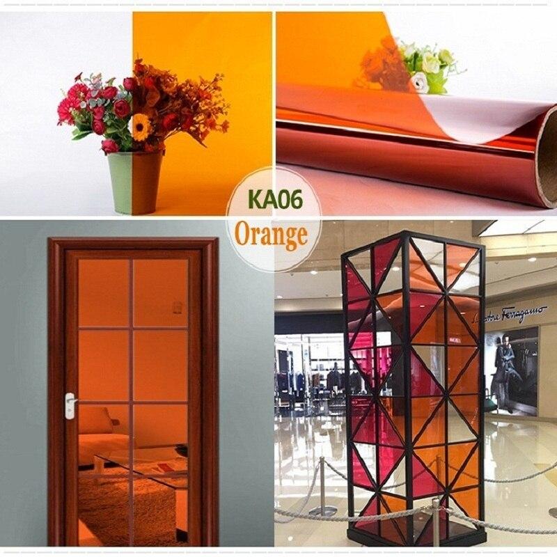 Película decorativa naranja para ventana de 2m, autoadhesiva Anti-UV, extraíble, a prueba de explosiones para supermercado, oficina, tienda, casa, DIY, Raamfolie