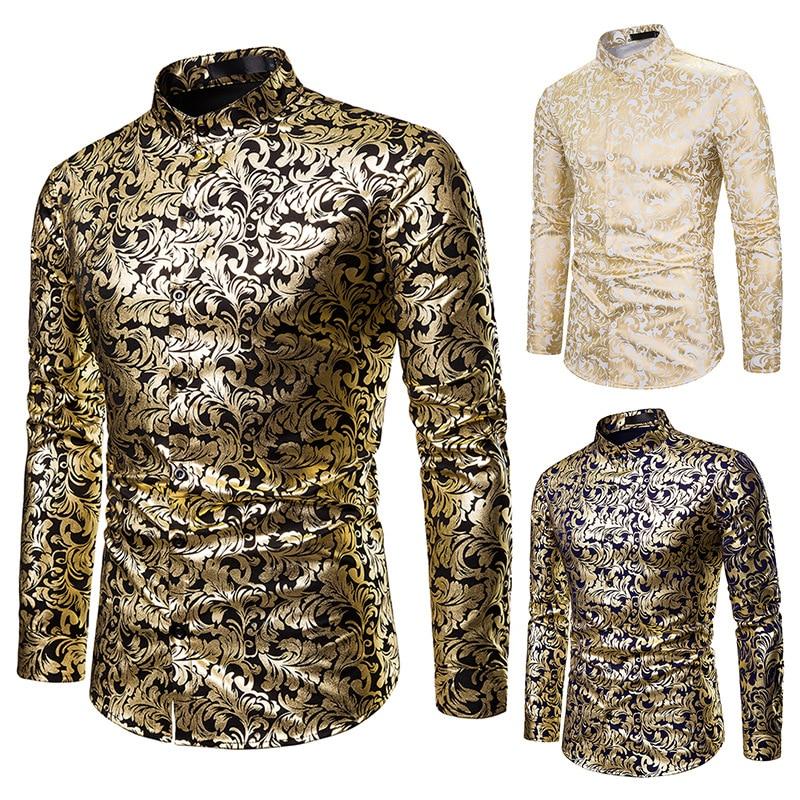 Hombres Hipster Nightclub Hip Hop oro Impresión de bronce vestido camisa Night Club Bar Party Wear Slim masculino camisetas de manga larga DT1797