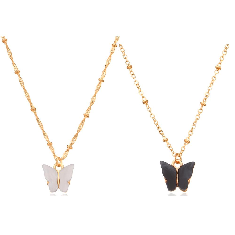 Collar con colgante de mariposa de acrílico negro y blanco bonito, cadena de clavícula torcida, collar gargantilla con insecto dorado para mujer