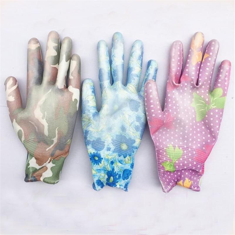 Guantes duraderos antideslizantes de jardinería para plantar en jardines, guantes de trabajo con impresión de mano, guantes de jardín al por mayor, 24 pares