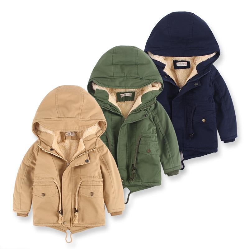 Children Winter Fleece Outdoor Jackets for Boys Hooded Warm Kids Boy Outerwear Windbreaker Autumn Ca