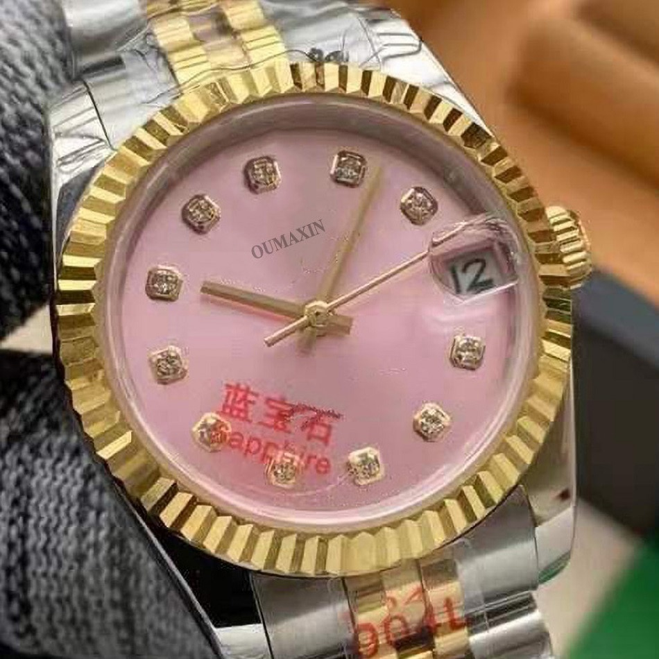 Luxury brand ladies watch automatic mechanical 36mm sapphire glass pink dial316 stainless steel clock enlarge