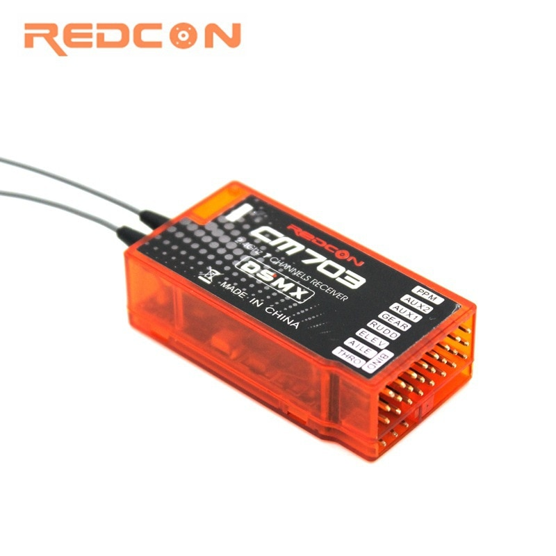REDCON CM703 salida PPM 2,4 GHZ 7CH DSM-X DSM2 receptor Compatible para DSM-X DSM2 Control remoto DX6I DX18 DX8 DX9 DEVO10