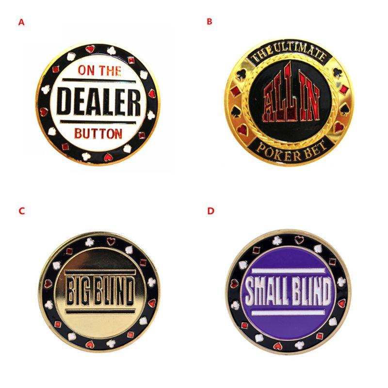 Metal Casino Hold'em Blackjack Dealer / All in / Bigblind / Smallblind Gambling Poker Chip NEW