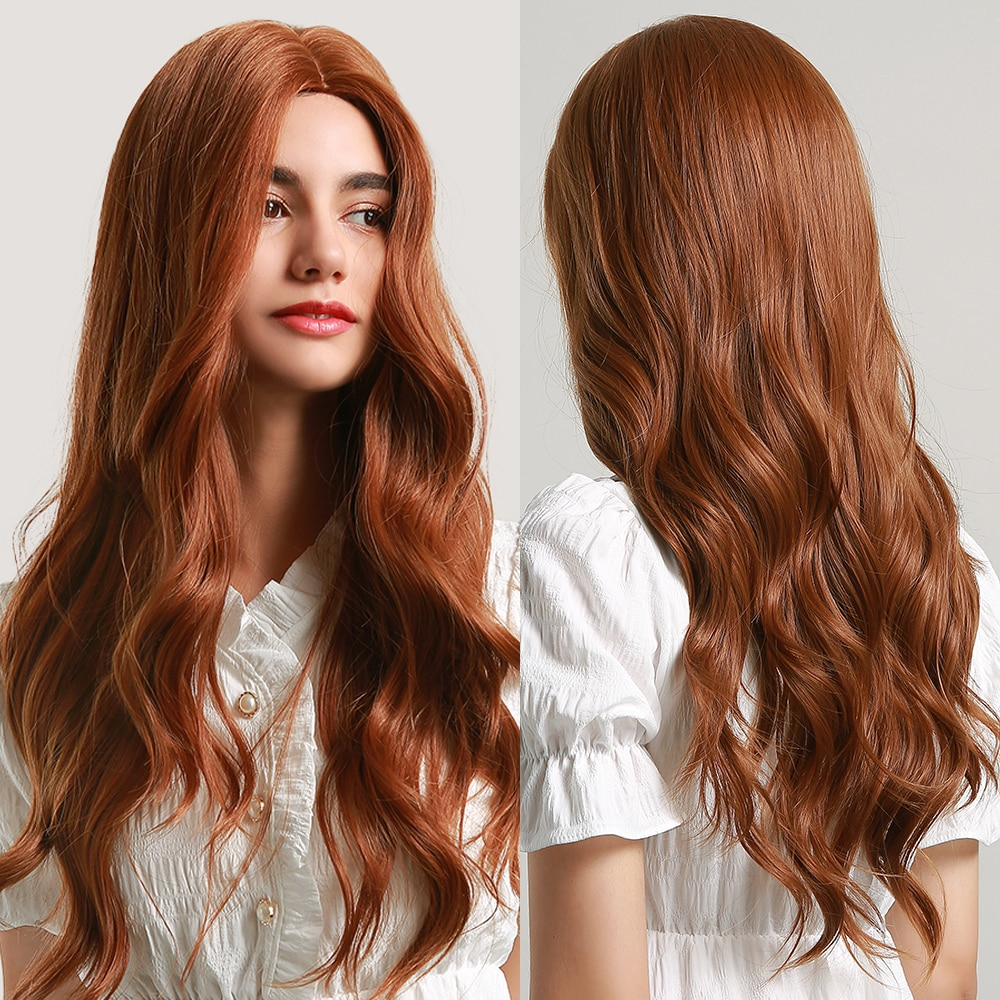 ALAN EATON Long Water Wave Wig Middle Part Red Brown Orange Copper Heat Resistant Synthetic Hair Wigs for Women African American