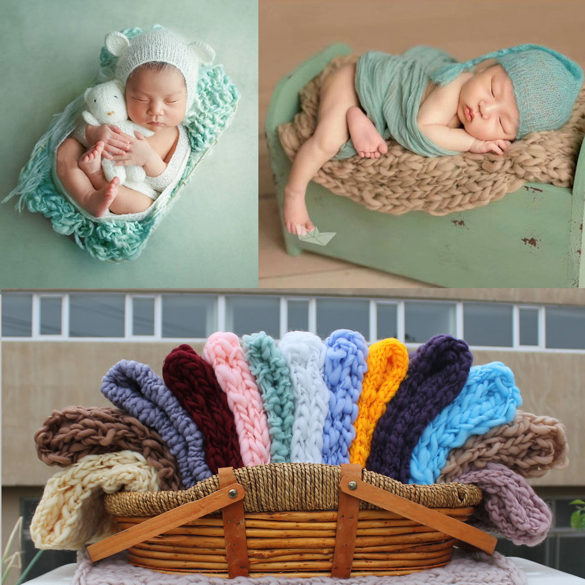 Children's Photography Blanket Thick Line Square Photo Props Background Blanket Newborn Photo Mat Blanket Knitting Solid Color knitting warmth flower plaid hollowed square sofa blanket