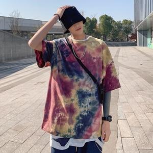streetwear Short-sleeved T-shirt Men  Tide  Clothes Korean Style Loose Tie dye tshirt Harajuku Style Five-point Sleeve