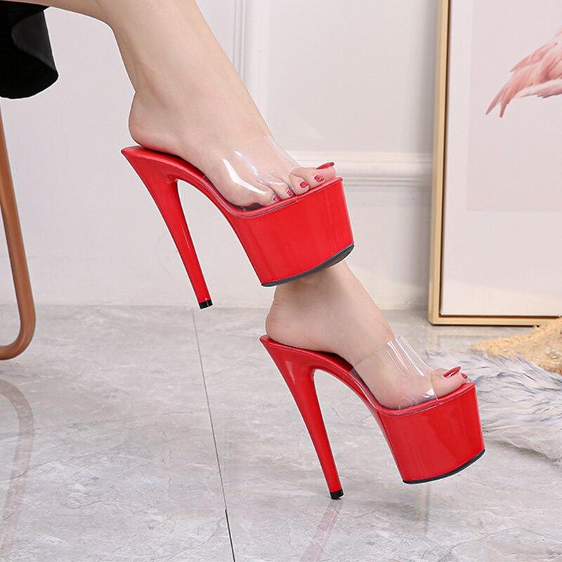 Fora chinelos sapatos femininos verão 2020 nova clara pvc chinelo super saltos altos 17cm plataforma chinelos sexy tamanho grande 35-43 fema