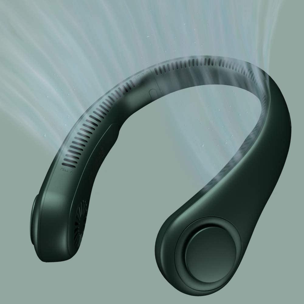 Miniventilador portátil sin aspas para el cuello, 2400mAh, recargable por USB, silencioso,...
