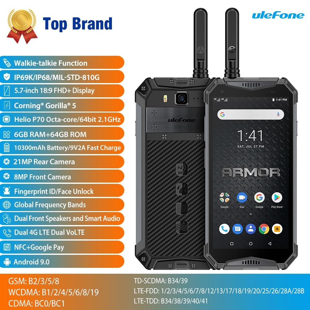 Ulefone Armor 3WT IP68 водонепроницаемый мобильный телефон, Android 9,0, 5,7 дюйма, 21 МП, Helio P70 восемь ядер, NFC, 10300 мАч, рация, 4G смартфон