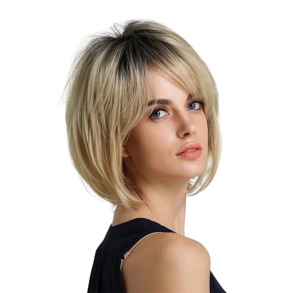 المرأة قصيرة مقاومة للحرارة الطبقات بوب الباروكات شقراء زي حفلة شعر مستعار