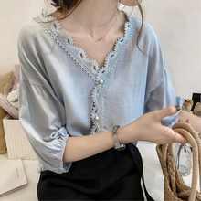Женская весенняя одежда, модный вязаный кружевной топ для студентов, шифоновая маленькая рубашка в стиле пэчворк с V-образным вырезом, Свобо...