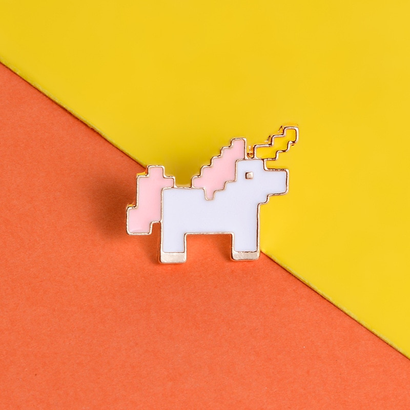XEDZ cute romantic unicorn mosaic horse brooch metal deformed body cartoon animal badge backpack lapel pin jewelry friend gift  - buy with discount