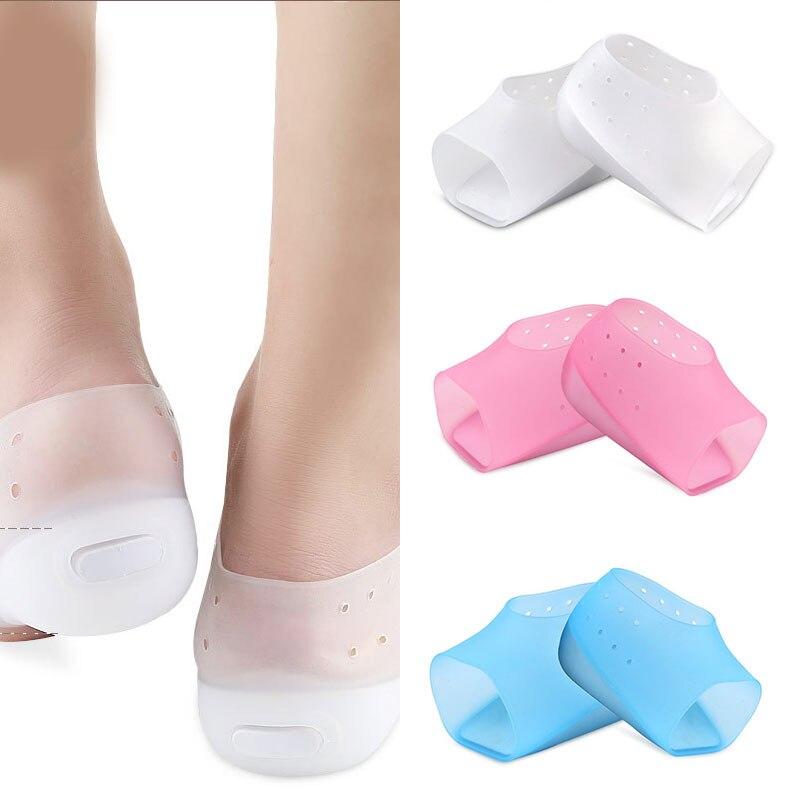 1 par de Color sólido Invisible aumento de altura calcetines talón suave almohadillas de silicona plantillas protector Cuidado del pie de alta calidad