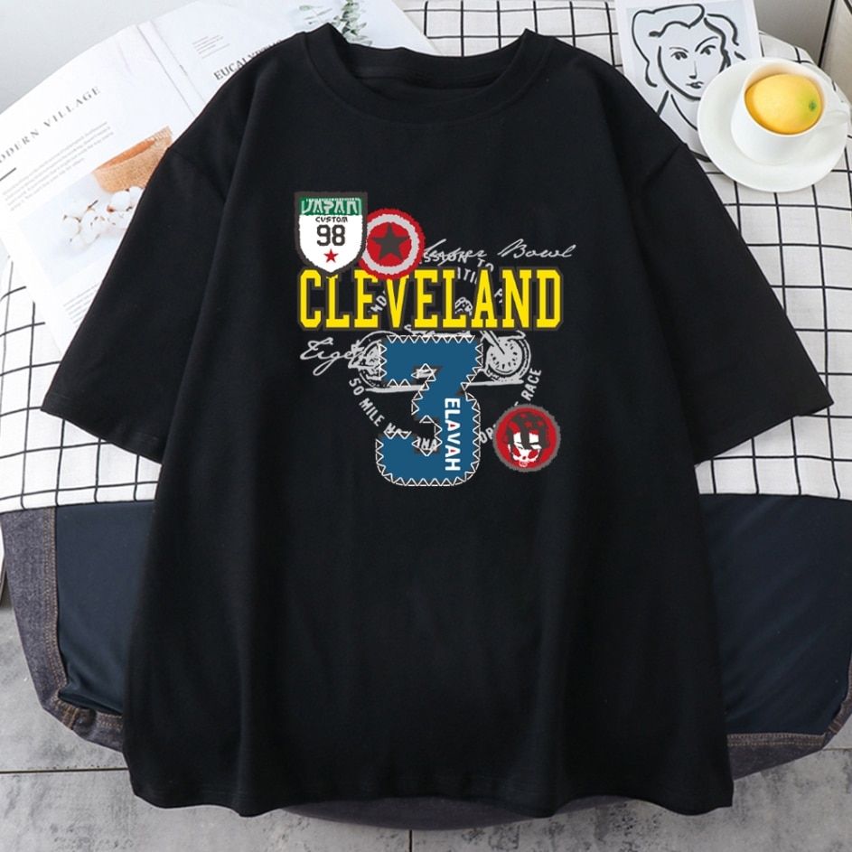 Женские футболки Cleveland с 3 принтами, удобные футболки с простым дизайном, модные футболки, креативная дышащая женская футболка