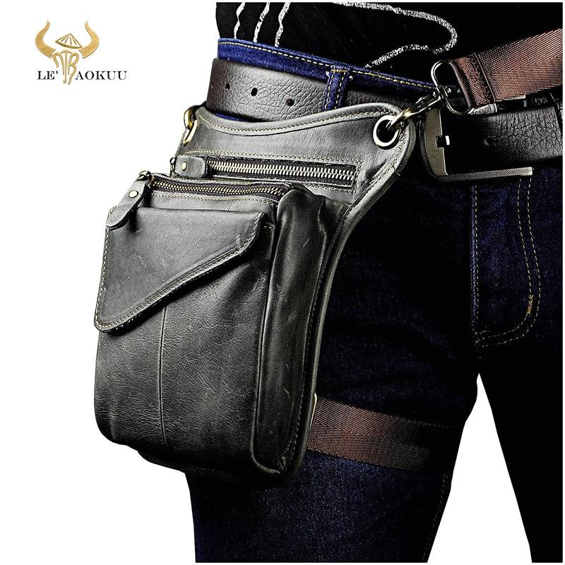 Real Leather Men Multifunction Design Casual Sling Shoulder Messenger Bag Fashion Travel Waist Belt Pack Drop Leg Bag 211-3-g