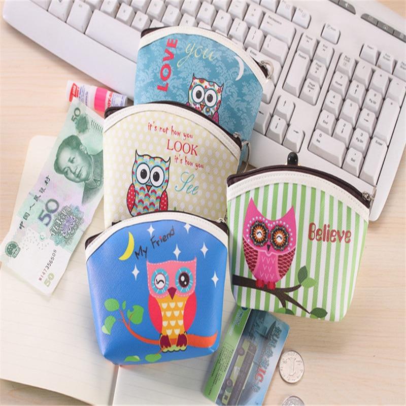Hot Selling Ladies Owl Fashion Cartoon Mini Wallet Small Coin Purse Buckle Hasp Wallet Clutch Key Ho