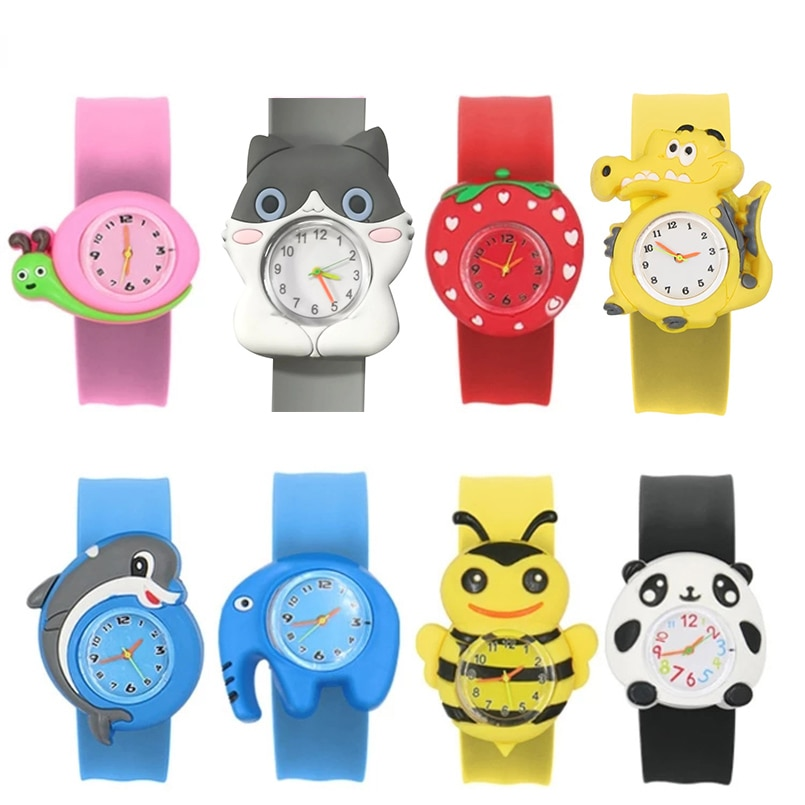 2021 Children Cartoon Cute Watches Kids Watch Christmas Gifts for Student Silicone Toy Watch Slap Bo
