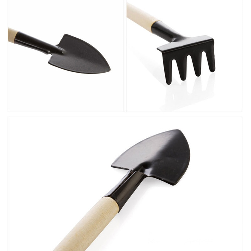 3PCS/Set Mini Wood Handle Stainless Steel Potted Plants Shovel Rake Spade For Flowers Potted Plant Gardening Plant Tools Set
