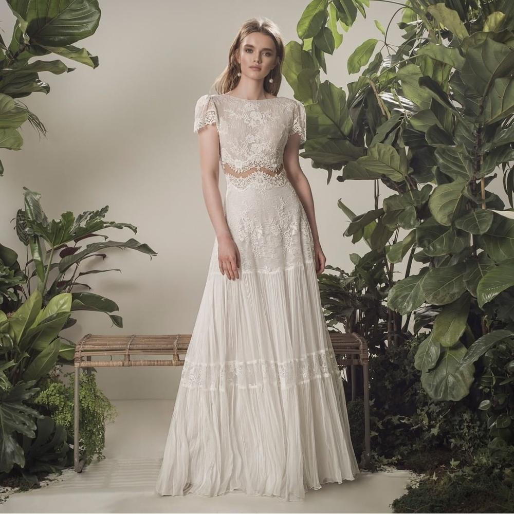 فستان زفاف بوهيمي 2021 قطعتين 2 شورت كم طول الأرض فستان زفاف الشاطئ بسيط شيفون للنساء جودة عالية