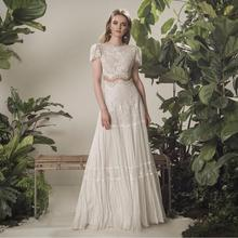 Bohème robe de mariée 2021 deux pièces 2 Shorts manches étage longueur plage robe de mariée Simple en mousseline de soie pour les femmes de haute qualité