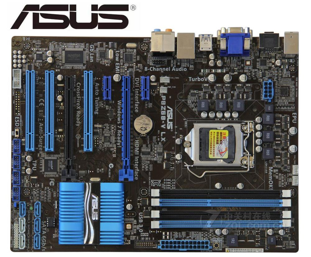 Asus P8Z68-V LX Desktop Motherboard Z68 Socket LGA 1155 i3 i5 i7 DDR3 32G ATX UEFI BIOS Original Used Mainboard On Sale