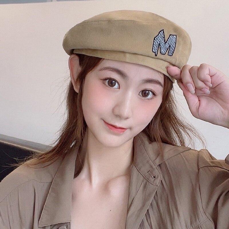 K228 Women's hat Autumn New Fashion Beret Female Wild Ins Flat Hat Octagonal Hat Korean Embroidery B