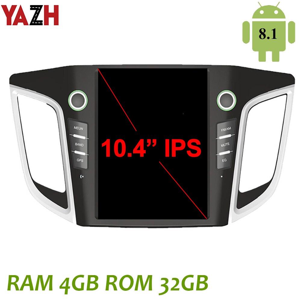 """YAZH dla Hyundai IX25 Creta 2014 2015 2016 2017 2018 Android 8.1 Radio samochodowe Stereo z 10.4 """"wyświetlaczem IPS Bluetooth 5.0 Carplay"""