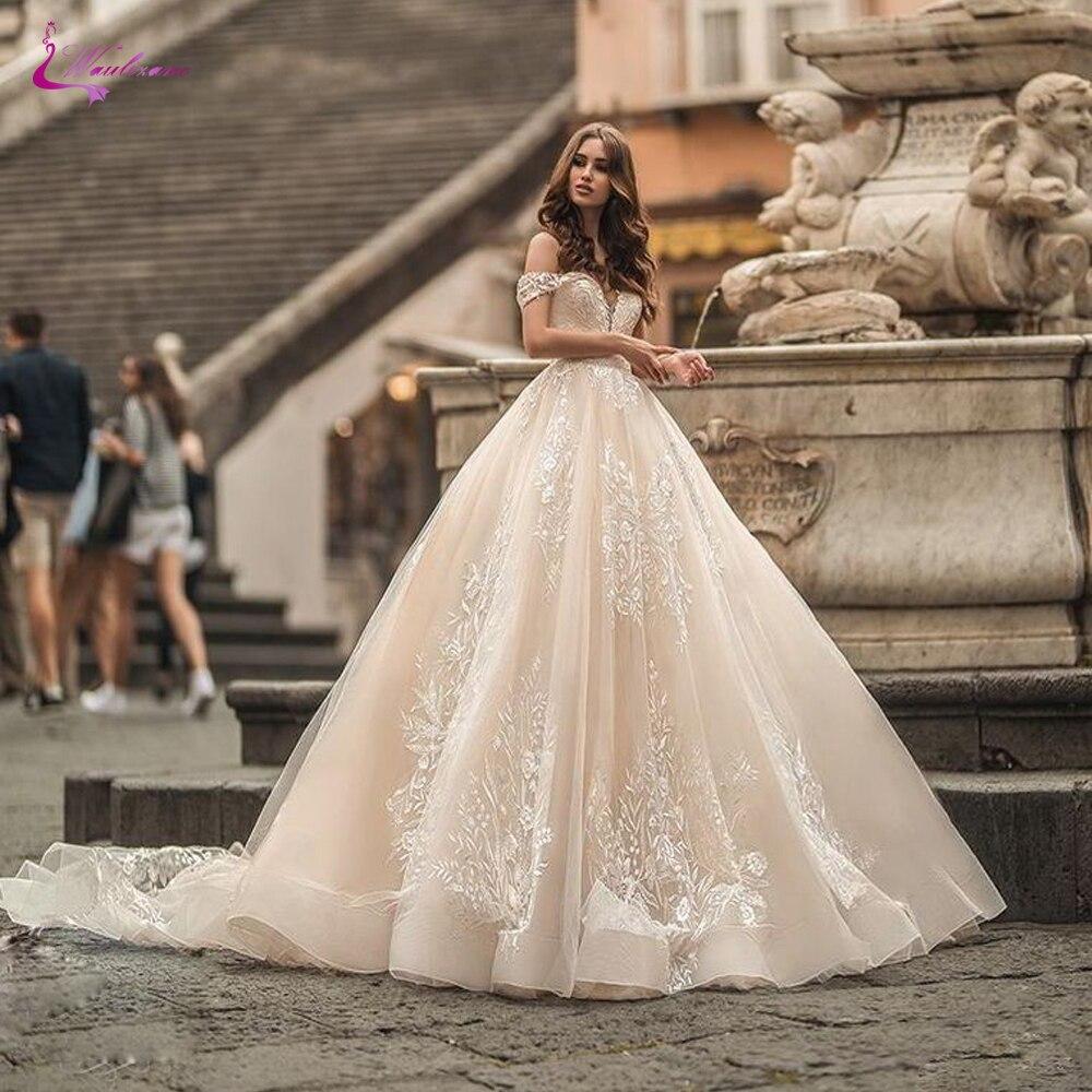 Waulizane feito sob encomenda link de vestidos de casamento do vestido de baile fora do ombro com laço lindo