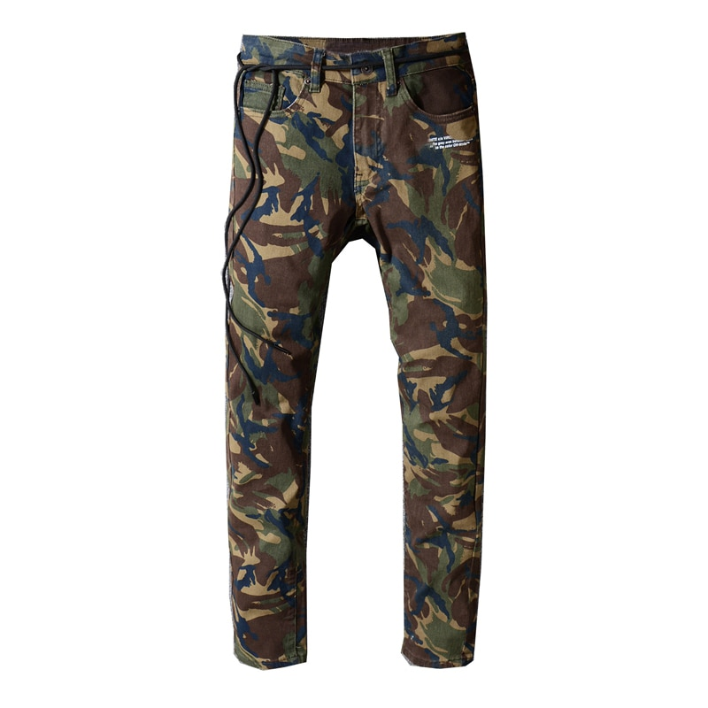 New men's male trousers Camouflage overalls mens tide brand street trend hip-hop slim feet summer thin casual denim pants 132