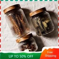 spices crystal storage jar sugar wooden lid japan style glass cookie candy jar transparent preservation rangement bottl zz50sb