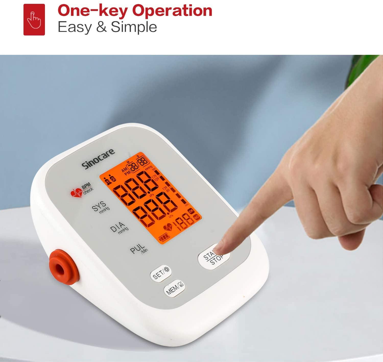 Sinocare monitor de pressão arterial braço superior tensiômetro automático digital bp máquina sphygmomanômetro pulso de freqüência cardíaca 2x90 memória