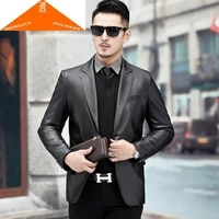 100 spring autumn genuine jacket men clothes 2020 streetwear real sheepskin coat man business casual leather coats 8925