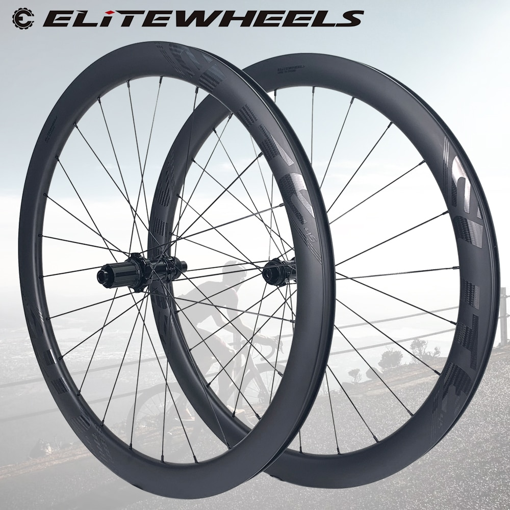 Elite Road Disc ruedas de carbono 45mm de ancho 27 De Profundidad de bloqueo central o 6 pernos Centro de bloqueo 24/24 agujeros para carretera de ciclocross juego de ruedas de ciclismo