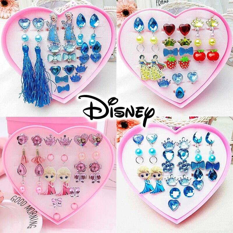 Frozen 2 Girls Toys Baby Girls Disney Princess Make Up Toys Ear Ring Birthday Gift Box Children Kids Fashion Acrylic Ear Clip