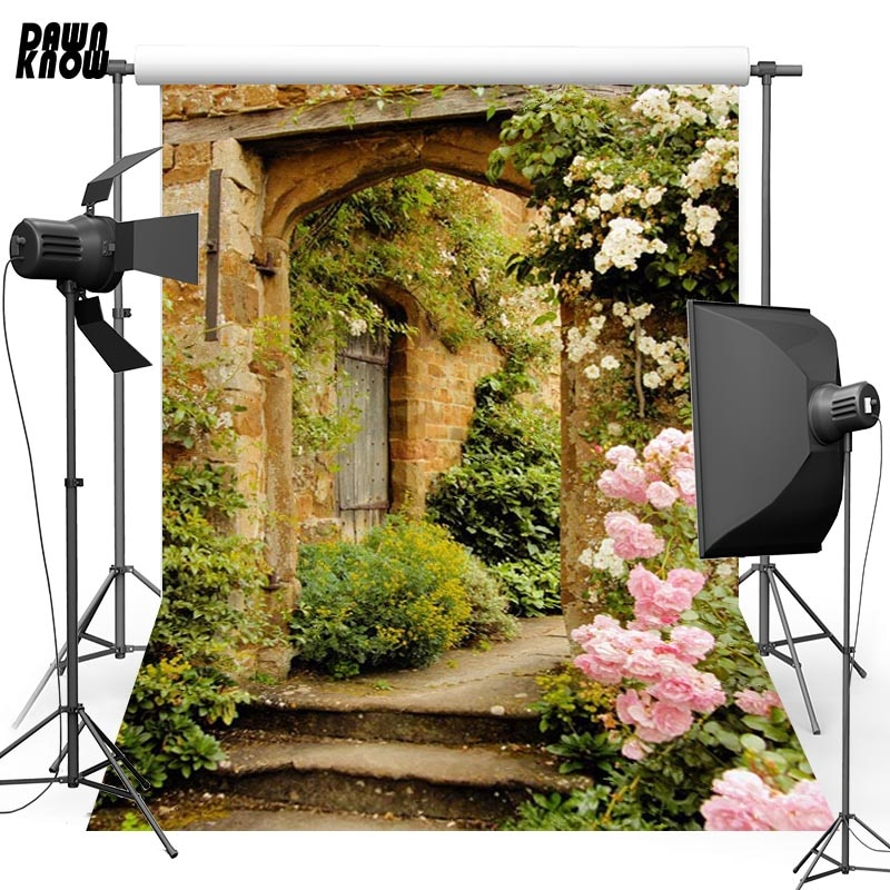 DAWNKNOW Wood Door Vinyl Photography Background For Baby Flower Step New Fabric Polyester Backdrop For Wedding Photo Studio G611