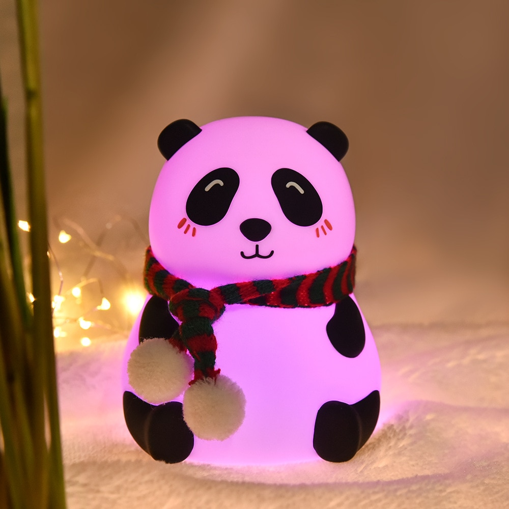 Creative Panda Small Night Lamp Pat Color Changing Silicone Light Seven-Color Light Bedroom Home Study Night Lamp Cute Lamp  - buy with discount