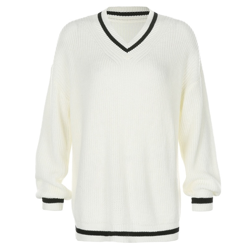 Women Preppy Style Striped V-Neck Sweater Knitted Long Sleeve Loose Jumper Top enlarge