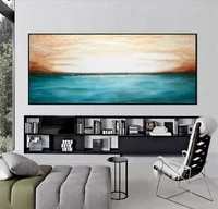 landscape painting canvas art large wall art abstract ocean painting landscape art blue gray seascape oil painting artwork