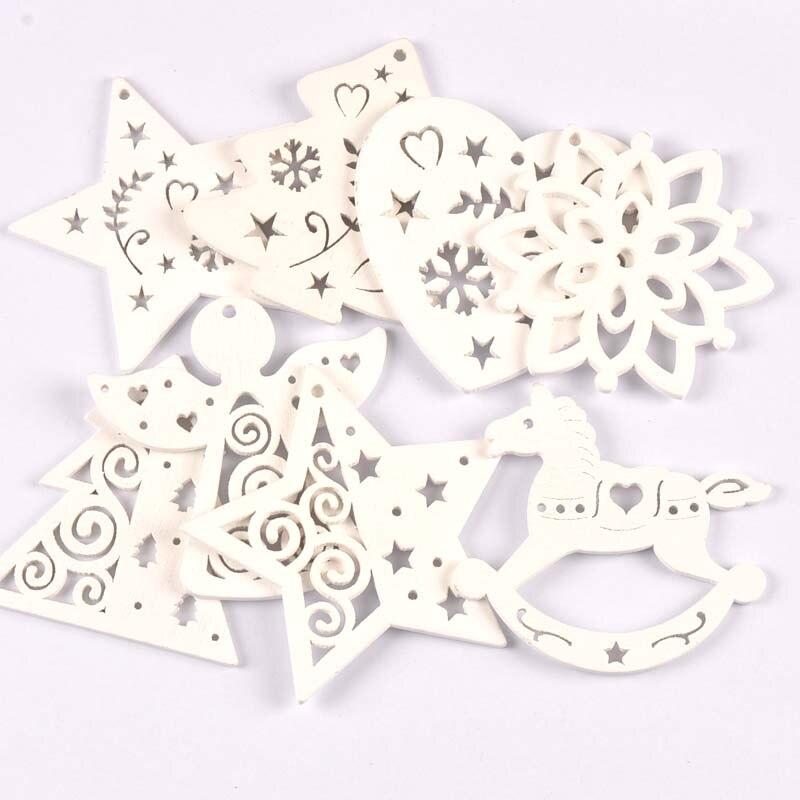 5 uds + 1m cuerda de cáñamo, adorno para árbol de Navidad colgante de madera colgantes ángeles blancos/estrellas/copos de nieve adornos navideños para el hogar