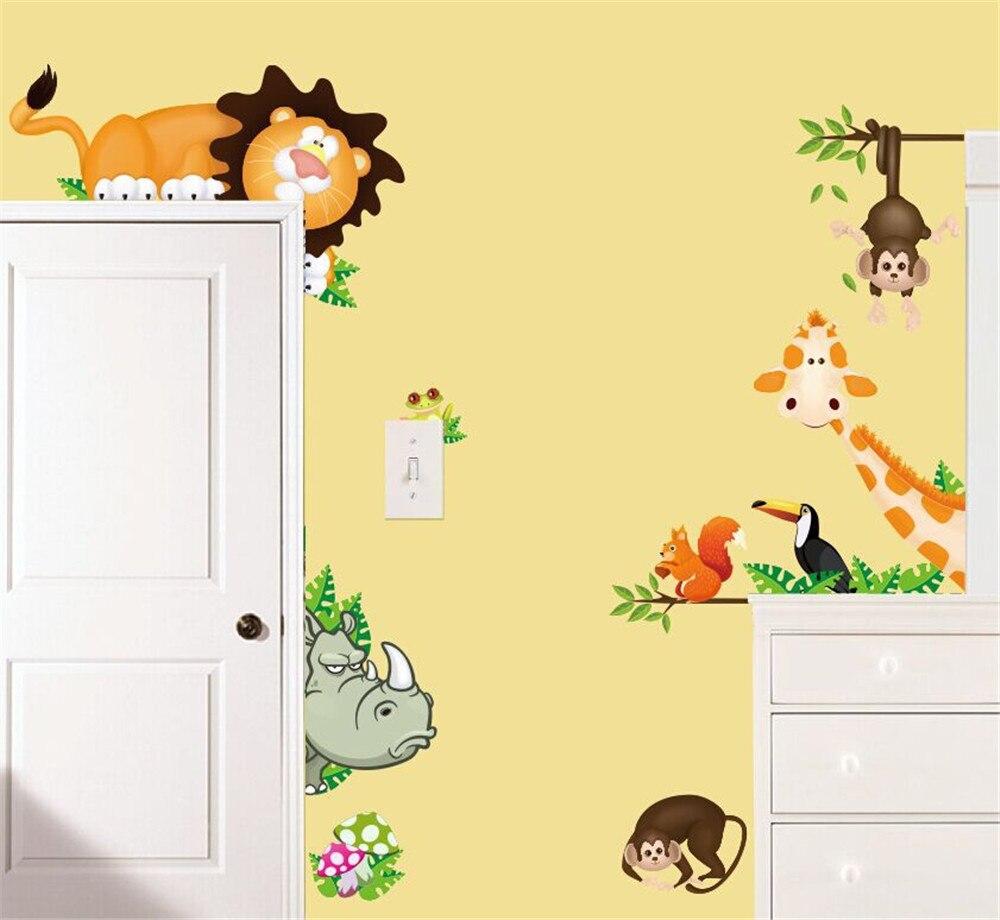 Kids wall stickers cartoon lion monkey giraffe elephant rhino sticker children bedroom door stickers cabinet stickers
