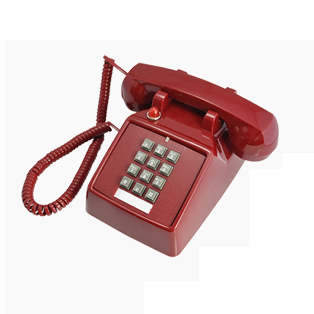 Corded Retro Home Telephones Classic Analog Red Phone Vintage Antique Old Fashion Landline Telephones for Home Office Hotel