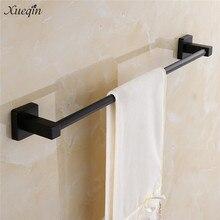 61cm Black Matte Square Towel Rack Rail Single Tissue Roll Toilet Brush Holder Robe Hook Bathroom Wall Mounted Towel Holder